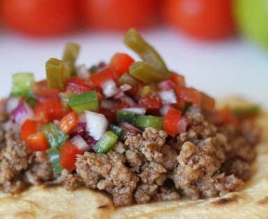 Tacos con Mix de ternera Valdelicias y pico de gallo